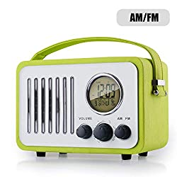 Retro AM/FM Radio, Portable Alarm Clock Radio with LCD Screen, External Antenna, Wooden Speaker Blue Leather Cover(Green)