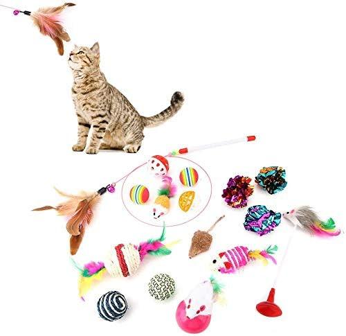 HEEPDD Paquete de variedades de Juguetes para Gatos, 16pcs Gatos Gatito Juego de Juguete para Mascotas Conjunto Divertido Gato Stick Colorido Bola Sisal Ratón Interactivo Juguete Color Aleatorio: Amazon.es: Productos para mascotas