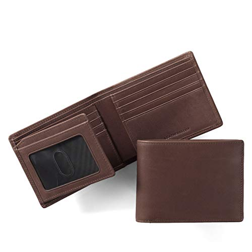 (Leatherology Men's Bifold Wallet with Card Flap ID Window - RFID Available - German Leather - Mahogany (brown) )