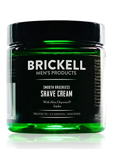 Brickell Men's Smooth Brushless Shave Cream for Men, Natural and Organic Smooth Shaving Lotion to Fight Nicks, Cuts and Razor Burn, 5 Ounce, Scented ()