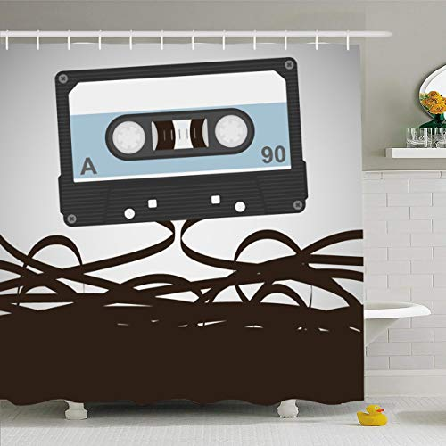 Ahawoso Shower Curtain 60x72 Inches Listen Record Cassettes Player 80S Obsolete Tape Flat Analogue Audio Magnetic Waterproof Polyester Fabric Bathroom Curtains Set with Hooks