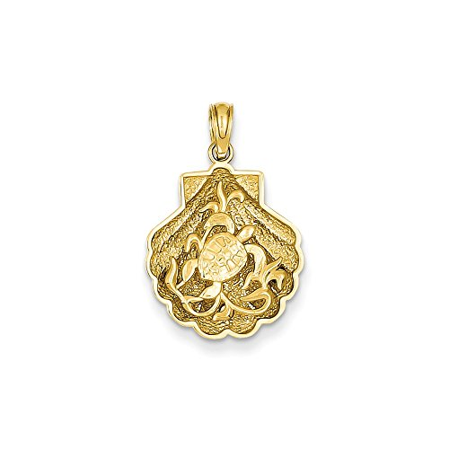 Jewelry Stores Network 14K Yellow Gold Sea Turtle On Seashell Pendant ()