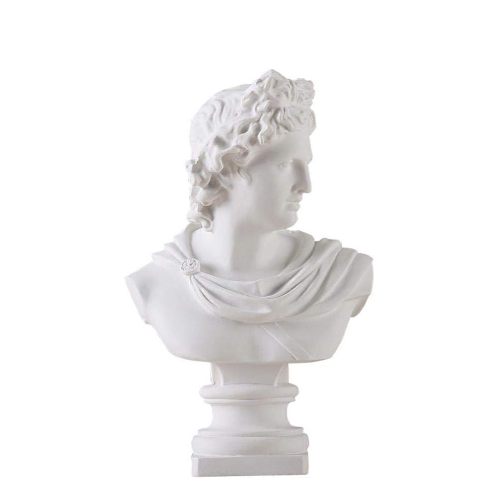 LDCP Apollo Kopf Portr/äts B/üste Gips Griechische Mythologie Adelos Statue Dekoration Harz Kunst /& Handwerk Skizze Praxis 31 cm 1 St/ück