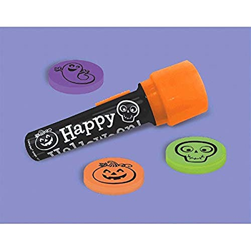 amscan Family Friendly Halloween Trick or Treat Creepy Creatures Projection Flashlight Party Favour, Plastic, 7