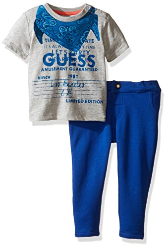 GUESS Boys' Ss Tee and Knit Denim Pant Set, Light Heather Grey, 6/9 Months (By Guess Jeans)