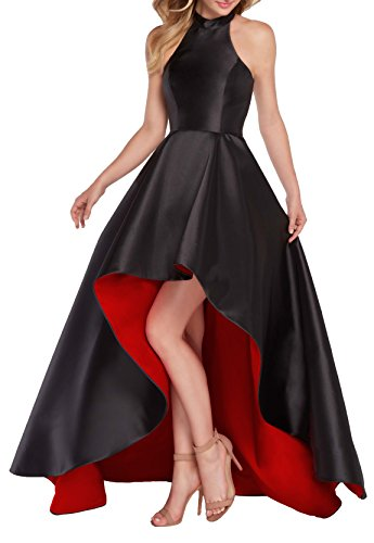 Women's Halter High Low Satin Evening Prom Dress Asymmetrical Ball Gown Lace Up Back Size 16 Black/Red (Asymmetrical Satin)