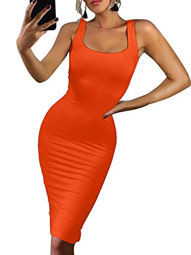 BEAGIMEG Women's Sexy Bodycon Sleeveless Pencil Knee Length Club Tank Dress Orange ()