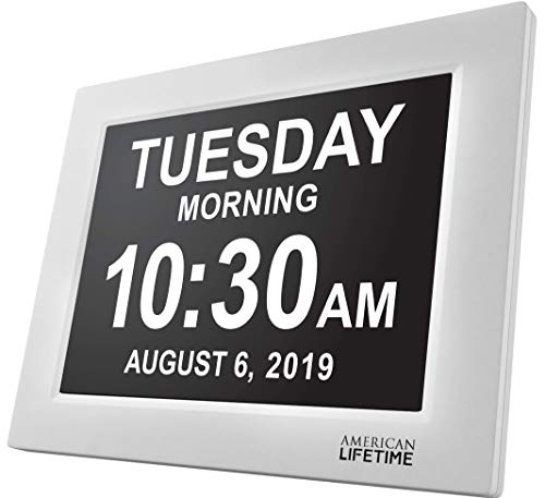 - American Lifetime [Newest Version] Day Clock - Extra Large Impaired Vision Digital Clock with Battery Backup & 5 Alarm Options - White