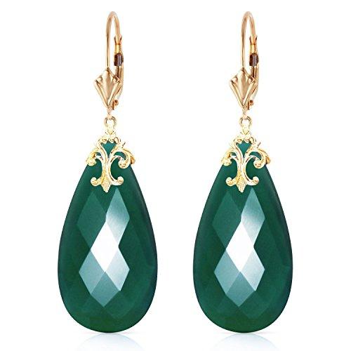 ALARRI 14K Solid Gold Leverback Earrings with Briolette 31x16 mm Deep Green Chalcedony (Earring Chalcedony Leverback)