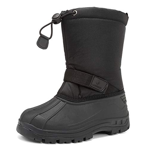 CIOR Snow Boots Winter Outdoor Waterproof with Fur Lined for Girls & Boys (Toddler/Little Kid/Big Kid) TX1,Black,34