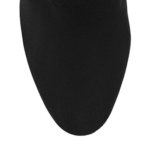 Plataforma de BLACK alta botón impermeable para PU Tacones otoño mujer de Áspero 37 38 de Botines altos Correas cruzadas metal con Botas 8019FD invierno green zzgrqpxw4