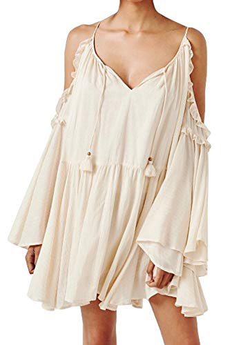R.Vivimos Women Cotton Long Sleeve V Neck Cold Shoulder Casual Ruffles Loose Short Dresses (XL, Beige)