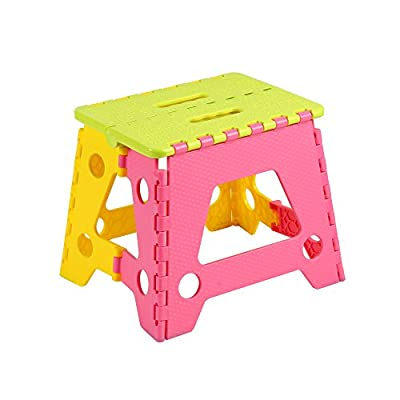 Colorful Plastic Folding Step Stool, Home, Camping, Fishing Essential Goods, 11 Inch Height and Strong Grip Ground for Kids & Adults