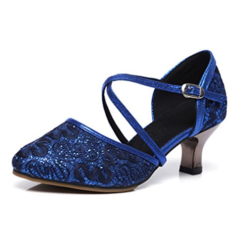 Glitter Dance Lace Latin Salsa Heel Tango Ballroom Dancing Sandals Adult Morden Shoes Women's blue Outdoor Navy GIY 5EwSfxnqYt