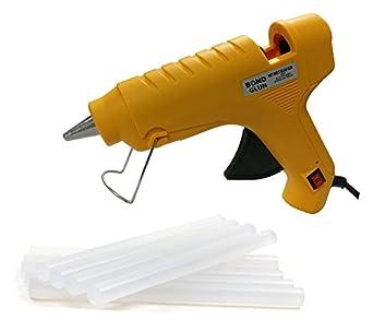 HRDEALS Glun Bond Yellow 40 Watt Hot Melt Glue Gun With On Off Switch Indicator And Leak proof Technology Free 5 Transparent Glue Sticks-YELLOW