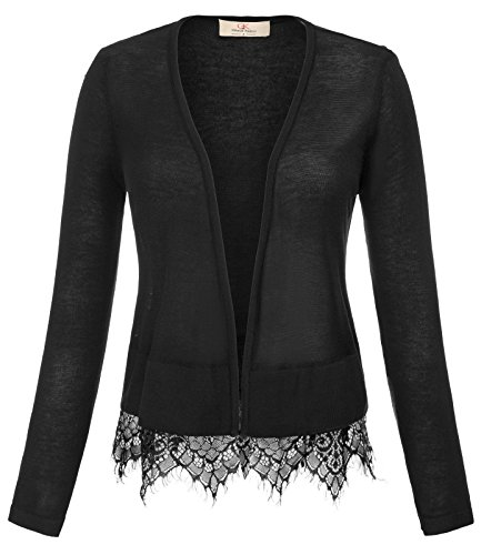 (GRACE KARIN Womens Cropped Shrug Jackets Thin Outwear (S,Black))