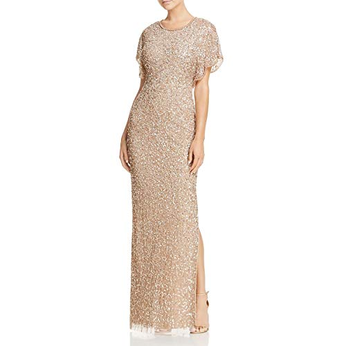 Adrianna Papell Women's Long Beaded Dress Flutter SLV, Antique/Bronze 10