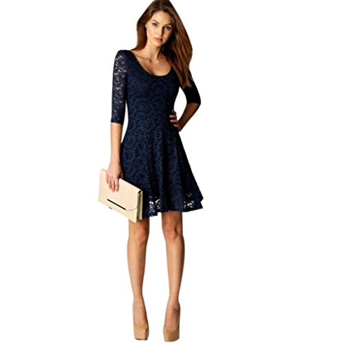 Dressin Women's Sexy Prom Dress Casual Lace Half Sleeve Evening Party Cocktail Short Mini A-Line Swing Dresses (Blue, S)