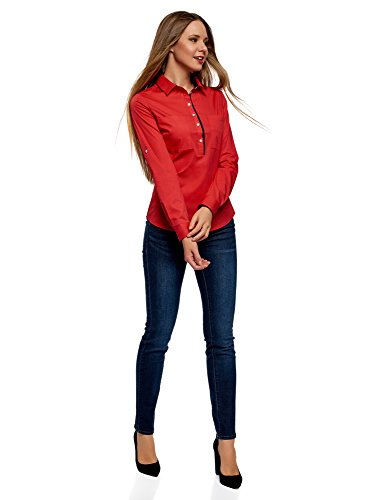 Femme Ultra 4500n Ajuste avec Chemise Poitrine Poches oodji de Rouge pP4qwWaqf