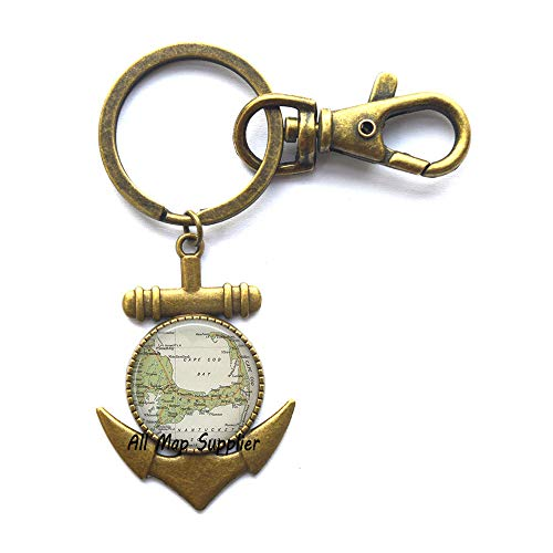 (Gorgeous Anchor Keychain Cape Cod map Anchor Key Ring,Cape Cod Anchor Key Ring,Resin Anchor Key Ring,Cape Cod Anchor Keychain map Jewelry,A0030 (2))