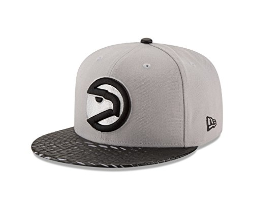NBA Atlanta Hawks Leather Rip 59FIFTY Fitted Cap, 7.375, Gray (Atlanta Hawks Fitted Cap)