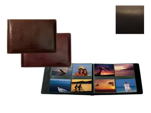 Raika #178 Handcrafted Top Grain Leather, 4-in x 6-in 4-up Post Bound Photo Album, Brown by Raika
