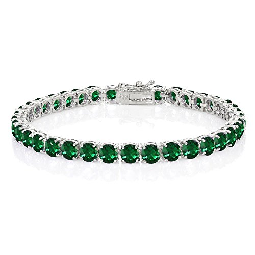 Ice Gems Sterling Silver Created Emerald 5mm Round Tennis Bracelet