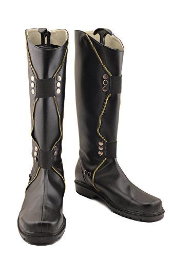[Hot Movie Loki Shoes Black PU Thigh-boots Shoes F] (Loki Costume)