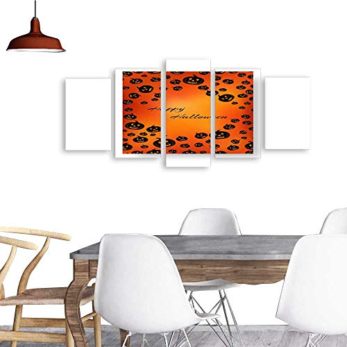 UHOO Five Pieces Wulian PaintingRectangular Greeting Card with Pumpkins for Halloween. Living Room Office Decor -