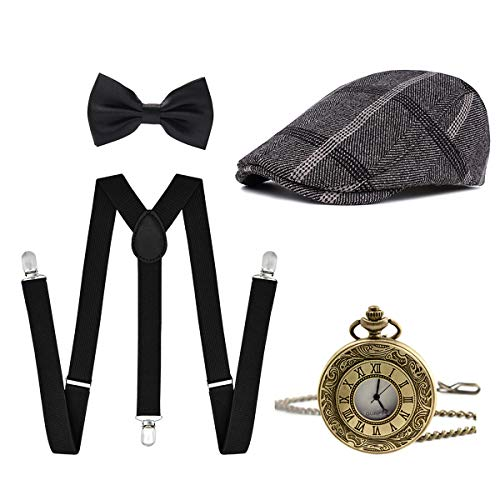 Ziyoot Men's 1920s Accessories Gatsby Gangster Costume Set Gangster Beret Y-Back ()