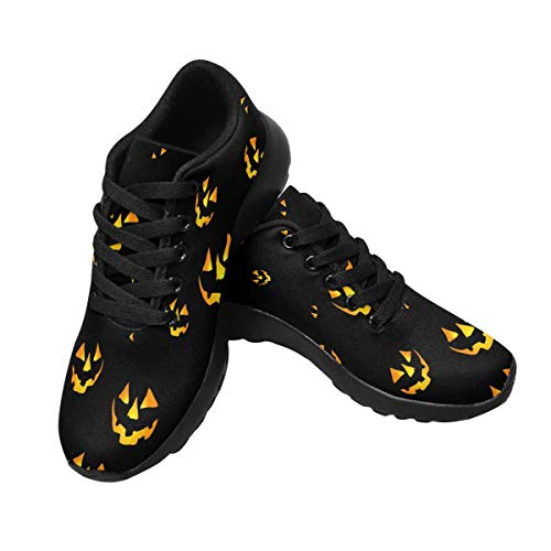 InterestPrint Womens Jogging Sneakers Outdoor Sport Cross Training Shoes US9 Halloween Pattern with Pumpkins Scary Faces
