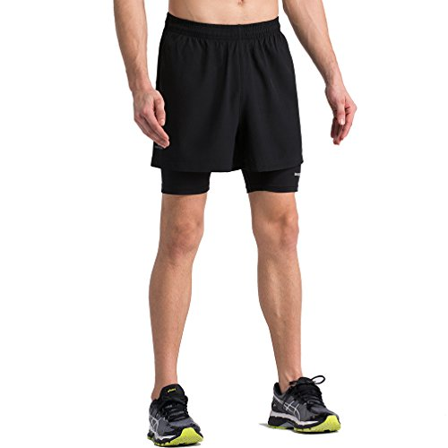Mens 2 in 1 Training Woven Shorts with Compression Lining All Black Large = US Size Medium