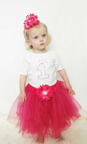First Birthday Princess Tutu Party Dress with Matching Flower Hair Clip