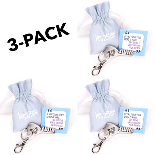 - 3-Pack key2Bme Swim Key - Swimmer Keychain & Inspirational Quote - The Cute Cool Fun Unique Small Gift Under $10 for Giving Swimming Team Coach Girl boy Kid Teen Women Men him her Water Pool