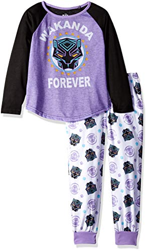 Marvel Girls' Big Black Panther 2-Piece Pajama Set, Wakanda Forever, 8]()