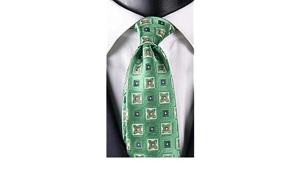 Corbata hombre verde con fantasía blanca beige y azul Exclusive ...
