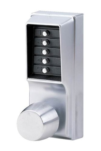 - Kaba Simplex 1000 Series Combination Entry Cylindrical Mechanical Pushbutton Lock with Knob, Passage, Cylindrical 13mm Throw Latch, Floating Face Plate, 70mm Backset, Satin Chrome Finish