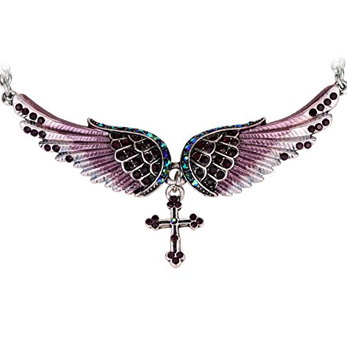 Szxc Jewelry Women's Crystal Wings Cross Necklaces Adjustable