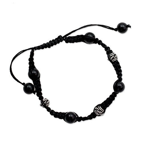 Peace Onyx - NOVICA Adjustable Length Macrame Shamballa Bracelet with Sterling Silver and Onyx 'Prayer for Peace'