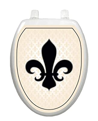 French Lily Cream & Gold Toilet Tattoo TT-1058-O Elongated