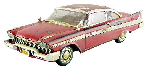 Auto World - Miniature Car Dirty Version Christine 1958 Plymouth Fury 1/18 Scale, awss119, Red/White