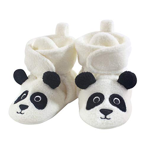 Hudson Baby Baby Cozy Fleece Booties with Non Skid Bottom, Panda Bear, 12-18 Months