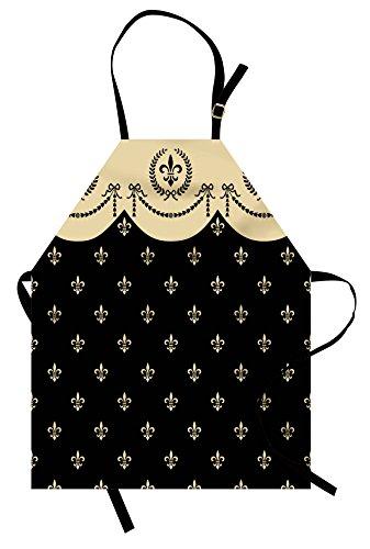 (Lunarable French Apron, Pattern of Fleur de Lis Ancient Symbol Illustration Baroque Inspired Print, Unisex Kitchen Bib Apron with Adjustable Neck for Cooking Baking Gardening, Charcoal Grey)