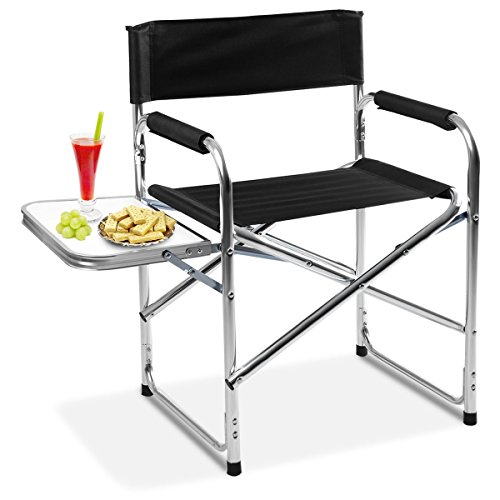Giantex Aluminum Folding Director's Chair Portable with Side Holder Camping Traveling Camping Chair (Black One Piece)