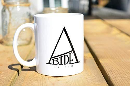 ABIDE IN HIM - Coffee or Tea Mug - 11 oz. White Mug with Simple, Motivational Gift, Inspirational, Christian, Love God -