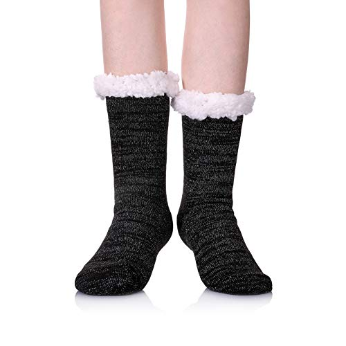(SDBING Women's Sequin Super Soft Warm Cozy Fuzzy Fleece-lined Winter Christmas gift Slipper socks (Black A))