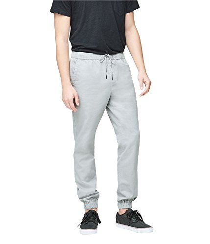 Aeropostale Mens Twill Casual Jogger Pants, Grey, Small
