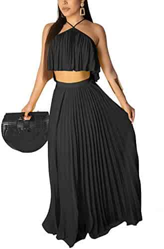 95871dded6d Womens Two Piece Outfits Dress - Chiffon Summer Sleeveless Halter Crop Top  Pleated Skirt Maxi Dresses