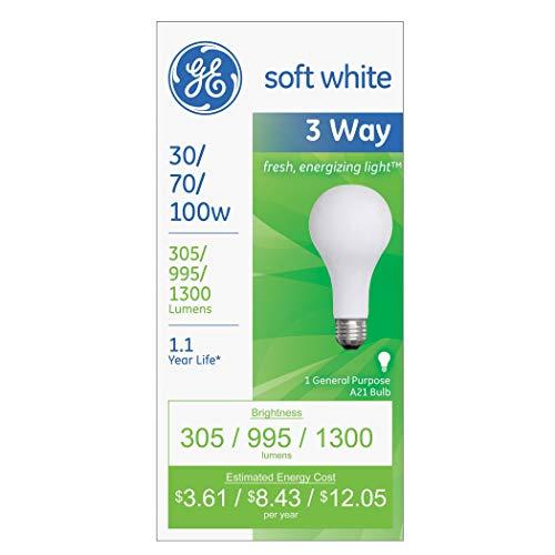 GE Lighting 97493 30-Watt – 70-Watt – 100-Watt A21 3-Way, Soft White, 6-Pack