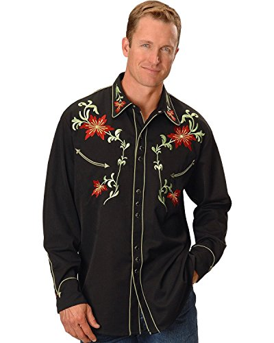 Scully Men's Floral Embroidery Vintage Western Shirt Black X-Large ()